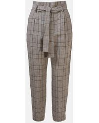 Peserico Gray Galles Check Pants
