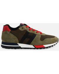 Hogan Green Retro Running Sneakers