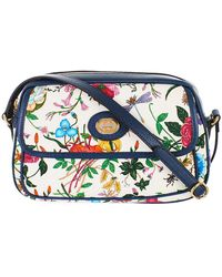 002cf107010 Lyst - Gucci Sylvie New Flora Leather Mini Chain Bag in Blue
