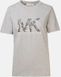 MICHAEL Michael Kors Sequin Logo T Shirt - Gray