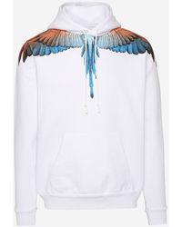Marcelo Burlon Orange And White Wings Sweatshirt - Blue