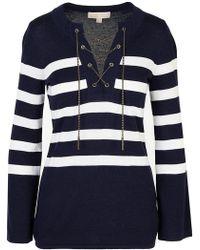 MICHAEL Michael Kors - Navy Striped Sweater - Lyst
