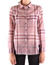 bce4423ddddd Lyst - Burberry Brit Burberry Check Print Cotton Shirt in Pink