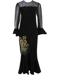 Rahul Mishra Black Multicolour Velvet Sunflower Embroidered Dress Black/multicolor Sz: S