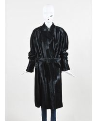 Hermès - Black Pony Hair Patch Belted Peak Lapel Single Button Coat - Lyst