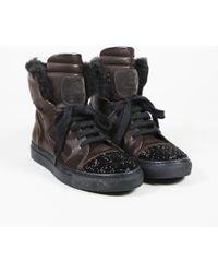 Brunello Cucinelli - Glitter Leather Dyed Goat Fur Trainers - Lyst