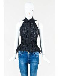 Alaïa   Black Cotton Blend Sleeveless Lasercut Peplum Drawstring Shirt   Lyst