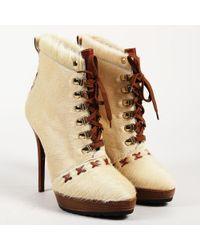 Ralph Lauren - Cream & Brown Calf Hair & Leather Platform Lace Up Boots - Lyst