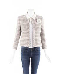 Chanel Tweed Camellia Jacket Green/pink Sz: M - Multicolour