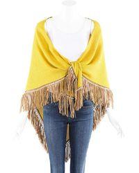 Bajra Yellow Silk Leather Fringe Shawl