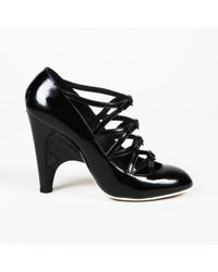 Chanel Quilted Patent Leather Cage Court Shoes - Black