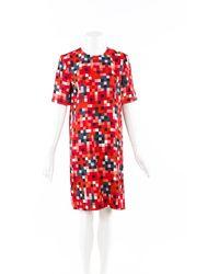 Marni Digital Pixel Print Dress Red/multicolor/geometric Sz: S