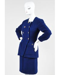 Chanel Boutique Blue Gold Tone Tweed Double Breast Jacket Skirt Suit Set