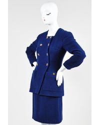 Chanel Boutique Tweed Double Breasted Skirt Suit - Blue