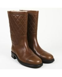 Chanel Quilted Leather Shearling 'cc' Boots - Brown