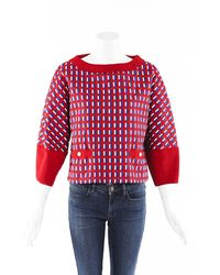 Chanel Boxy Knit Pearl Sweater Red/multicolor/geometric Sz: M