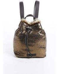 Brunello Cucinelli Gold Leather Fur Drawstring Backpack Gold Sz: M - Metallic