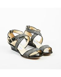 Jimmy Choo - Black Patent Leather Metallic Woven Textile Wedge Sandals - Lyst