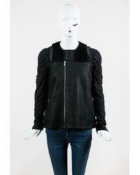 Rick Owens Leather Shearling Trim Zip Jacket - Black