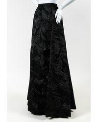 Delpozo Metallic Black Leaf Print Evening Maxi Skirt Black/metallic Sz: Xs