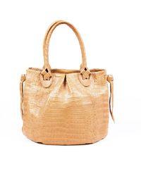 Nancy Gonzalez Crocodile Shoulder Bag - Natural