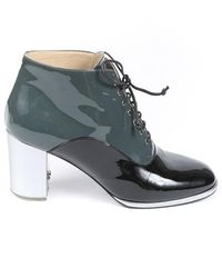 Chanel Patent Leather Lace Up Booties Green/silver Sz: 9