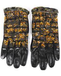 Chanel Tweed Leather Gloves - Black