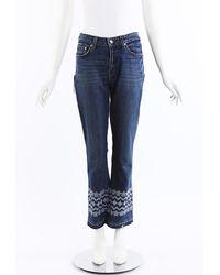 Derek Lam Jane Embroidered Jeans Blue/white/floral Print Sz: 29