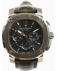 Burberry - Mens Gray Alligator Skin 18k Gold & Titanium Chronograph Watch - Lyst