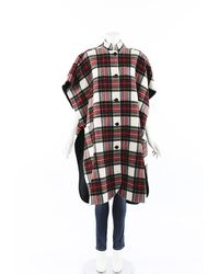 Burberry Reversible Tartan Wool Poncho Red/green Sz: One Size