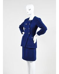 Chanel Blue Tweed Double Breast Jacket And Skirt Suit