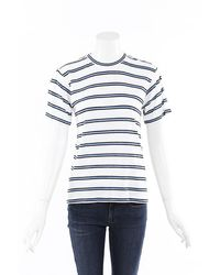 Derek Lam 10 Crosby 2019 Striped Linen T-shirt Blue/white Sz: L