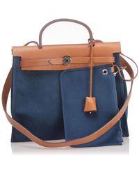 Hermès Herbag Zip 31 Canvas Satchel - Blue