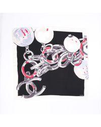 Chanel Cc Pearl Silk Scarf - Black
