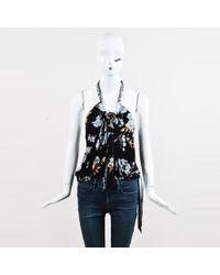 Leonard - Black Multicolor Silk Floral Print Tie Neck Top - Lyst