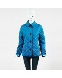 Burberry Brit - Blue Cotton Blend Quilted Coat - Lyst