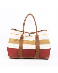 Hermès Garden Party Mm Striped Toile Negonda Tote Bag - Brown