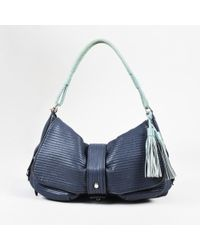 Lanvin - Blue & Mint Green Quilted Leather Fringe Tassel Shoulder Bag - Lyst