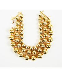 Chanel - Vintage 1986-1991 Gold Tone Bead Ball Chain 3 Strand Necklace - Lyst