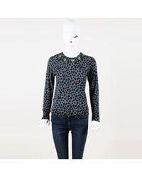MUVEIL Beaded Animal Print Wool Sweater - Blue