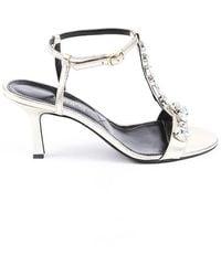 Erdem Crystal Leather T-strap Sandals Silver Sz: 7.5 - Metallic