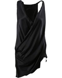 Urban Zen - Black Silk Draped Top - Lyst