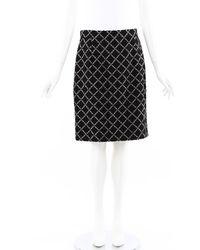 Chanel Quilted Fantasy Tweed Skirt Black/white/geometric Sz: M