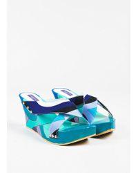 Emilio Pucci - Blue Multicolour Canvas Printed Wooden Platform Wedges - Lyst