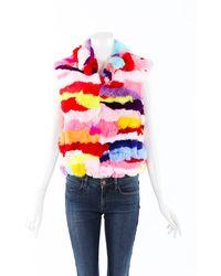 Adrienne Landau Dyed Rabbit Fur Vest Pink/multicolor Sz: M