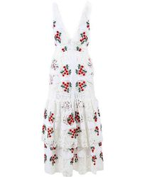 Brock Collection - White Multicolor Lace Cherry Embroidered Darling Dress - Lyst