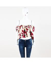 Stone Cold Fox - Floral Print Off Shoulder Cropped Top - Lyst