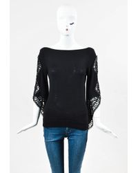 Badgley Mischka - Black Cashmere Beaded Sleeve Sleeve Boat Neck Pullover Jumper - Lyst