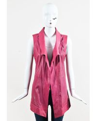 ESCADA | Pink Perforated Leather Lapel Collar Vest | Lyst