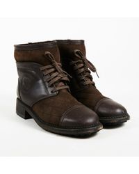 Chanel - Pf 2013 Brown Leather Suede & Shearling Lace Up Ankle Boots - Lyst